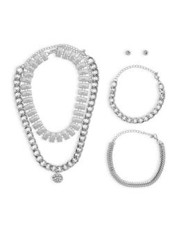 Set of 2 Chain Chokers with 2 Bracelets and Stud Earrings - 1123072692129