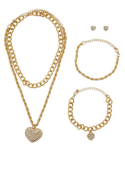 Rhinestone Heart Pendant Necklaces with Bracelets and Stud Earrings - 1123072692142