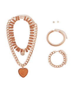 Assorted Necklace Set with Bracelet and Earrings - 1123072692149