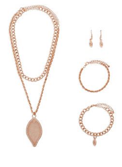 Layered Leaf Necklace with Bracelet and Earrings Set - 1123072692151