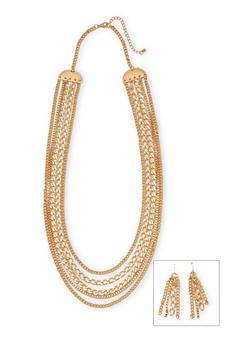 Multi Strand Necklace and Earrings Set - 1123072694153