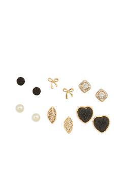 Set of 6 Rhinestone and Faux Pearl Stud Earrings - 1123072694184