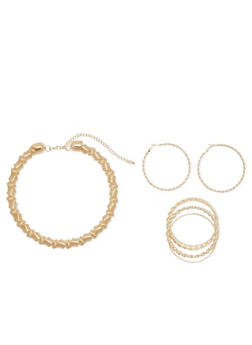 Necklace, Hoop Earrings and Bangles Jewelry Set - 1123072694189