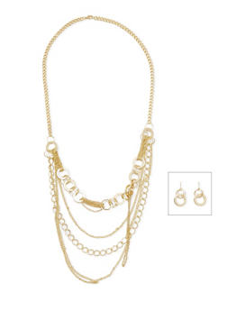 Multi Strand Necklace and Earrings Set - 1123072694191
