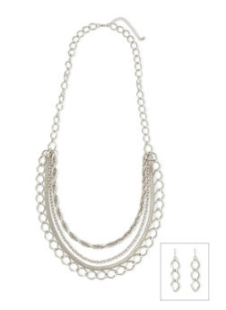 Multi Strand Necklace and Earrings Set - 1123072694192