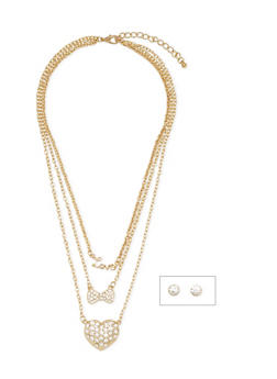 Tiered Necklace with Crystal Stud Earrings - 1123072694221