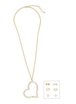 Heart Necklace with Assorted Stud Earrings - 1123072694222