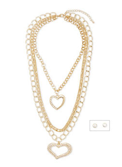Layered Heart Necklace with Stud Earrings - 1123072694226