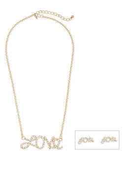 Love Stud Earrings and Necklace Set - 1123072694227
