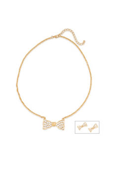 Crystal Bow Necklace and Crystal Bow Earrings Set - 1123072694228