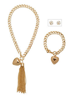 Necklace with Bracelet and Earrings Set - 1123072694268