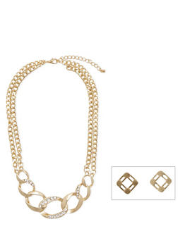 Collar Neckace with Chain Link Pendant and Earrings Set - 1123072694272