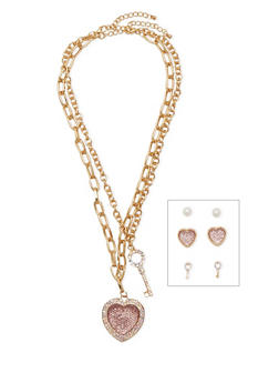 Set of 2 Necklaces and 3 Stud Earrings - 1123072694279