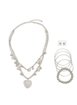 Necklace with Stud Earrings and 5 Bracelets Set - 1123072694310