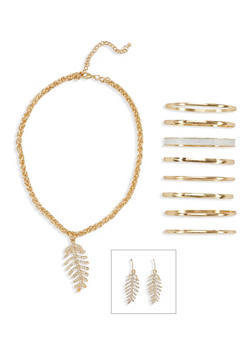 Crystal Feather Necklace and Earrings with 8 Bangles Set - 1123072694324