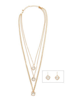 Caged Rhinestone Charm Necklace and Earrings - 1123072694354