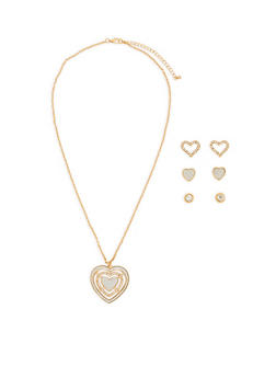 Rhinestone Glitter Heart Necklace with 3 Stud Earrings - 1123072694421