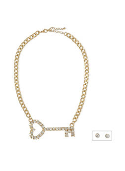 Stud Earrings and Key Pendant Necklace Set - 1123072694425