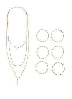 Metallic Hoop Trio with Necklace - 1123072694428