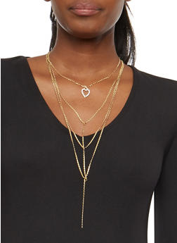Layered Rhinestone Pendant Necklace with Hoop Earrings - 1123072694482