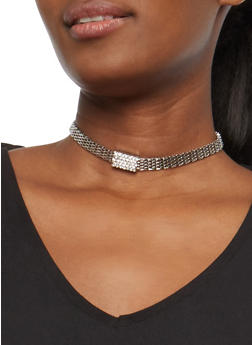 Multi Layer Pendant Necklace and Choker with Stud Earrings - 1123072694742