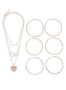 Twist Hoop Earrings with Necklace - 1123072694872