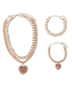 Curb and Tube Chain Charm Necklace with Matching Bracelets - 1123072694922