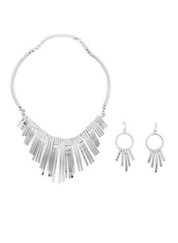 Textured Stick Collar Necklace and Matching Earrings - 1123072694938