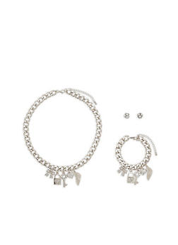 Rhinestone Charm Necklace with Bracelet and Earrings - 1123072695234