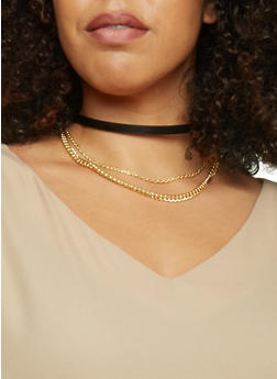 Faux Leather Choker with Curb Chains - 1123072695565