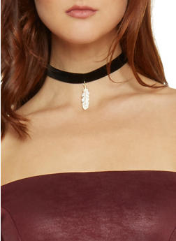 Velvet Choker with Rhinestone Feather Pendant - 1123072695570
