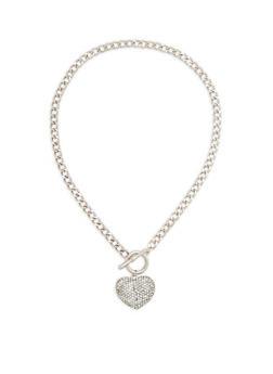 Rhinestone Heart Toggle Chain Necklace - 1123072695663