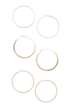 Trio of Large Hoop Earrings - 1123072695803