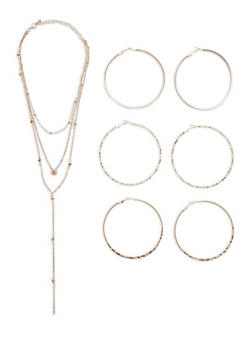 Tiered Rhinestone Necklace with 3 Textured Hoop Earrings - 1123072695919