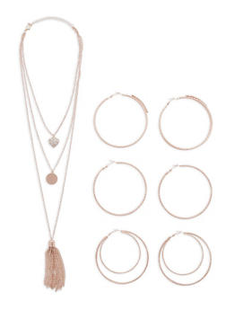 Layered Tassel Necklace with Hoop Earrings - 1123072695920