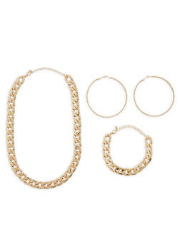 Chain Link Necklace with Bracelet and Large Hoop Earrings - 1123072695959