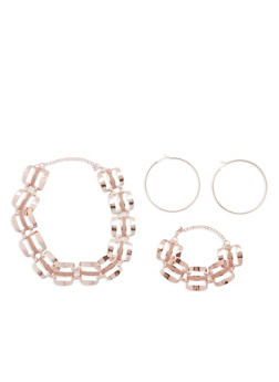 Glitter Metallic Linked Chain Necklace and Bracelet with Hoop Earrings - 1123072695961