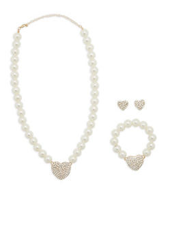 Heart Pendant Faux Pearl Necklace with Bracelet and Earrings - 1123072695980