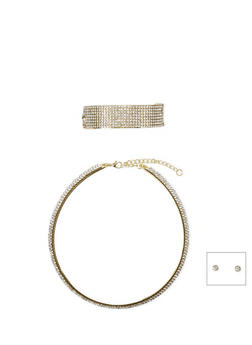 Crystal Collar Necklace with Cuff Bracelet and Stud Earrings Set - 1123073120542