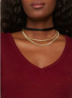 Faux Leather Choker Necklace with Chains - BLACK - 1123073280202