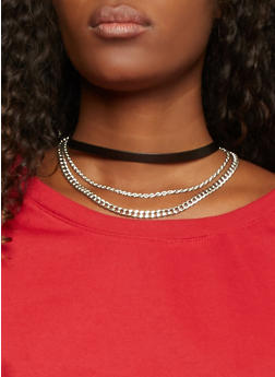 Faux Leather Choker Necklace with Chains - SILVER - 1123073280202