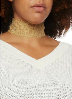 Plus Size Lace Choker Necklace - 1123073281115