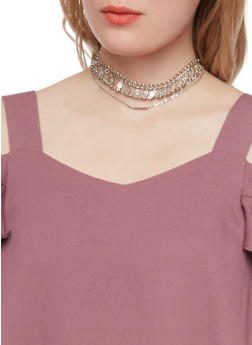Set of 3 Assorted Chokers with Velvet and Metal Details - 1123073283635