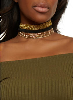 Set of 3 Assorted Choker Necklaces - GOLD - 1123073289162