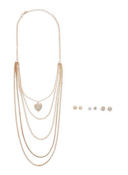 Layered Chain Pendant Necklace with 3 Stud Earrings - 1123073840622