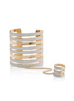 Metallic Glitter Ring Hand Chain Bracelet - 1123073843031