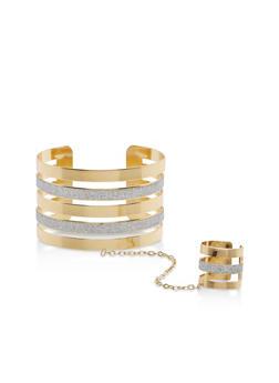 Glitter Metallic Ring Hand Chain Bracelet - 1123073843053