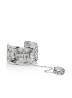 Rhinestone Ring Hand Chain Bracelet - 1123073843101