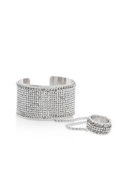 Rhinestone Encrusted Ring Hand Chain Bracelet - 1123073843102