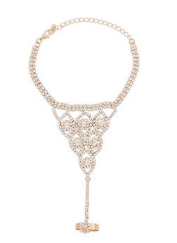 Rhinestone Ring Hand Chain Bracelet - 1123073843103